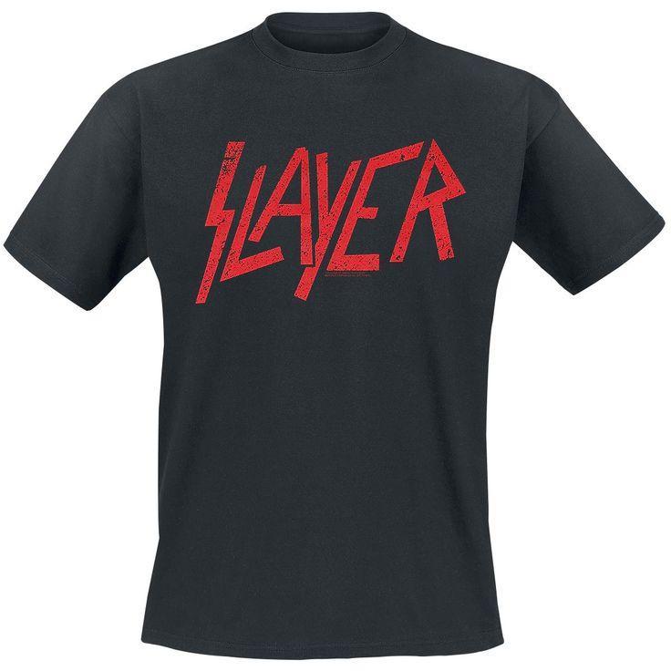 """Classica T-Shirt uomo nera """"Logo"""" degli #Slayer con scollo tondo e ampia stampa frontale."""