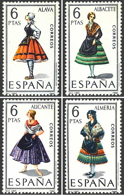 Traditional costumes of the different regions of Spain in a stamp collection from the sixties.