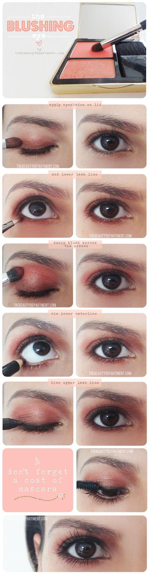 Make an every day eye shadow pop by adding a little blush!Makeup Tutorials, Eye Makeup, Double Duty, Makeup Tricks, Beautiful Department, Eye Shadows, Blushes Eye, Eyeshadows, Diy Makeup