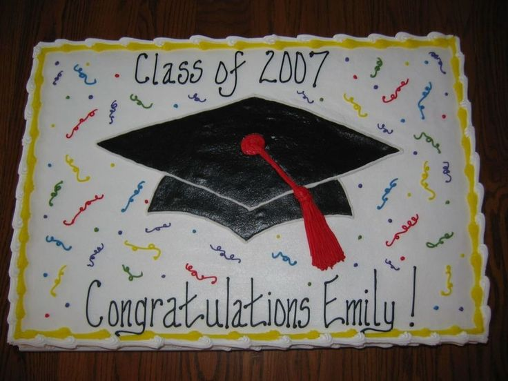 Emily's Graduation Cake Full sheet cake, 1/2 white 1/2 chocolate, iced and decorated in buttercream; thanks to Cherie's Bakery...