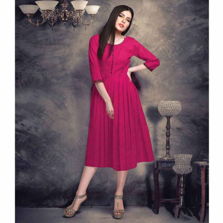 Cotton Pink Plain A-line Style Kurti #womensfashion #cottonkurtis #plainkurtis #aline #fashion #style #shopping #casualkurtis #kurtis #ethnicwear