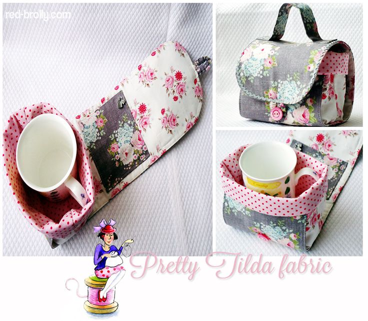 Free pattern from Red Brolly for a Mug Bag with pocket for tea bags - great gift for a quilter/crafter who attends workshops or get togethers....
