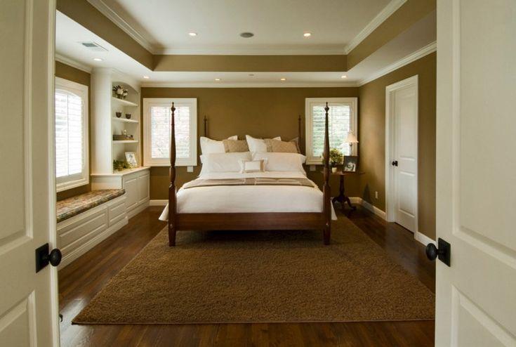 коричневые стены в спальне
