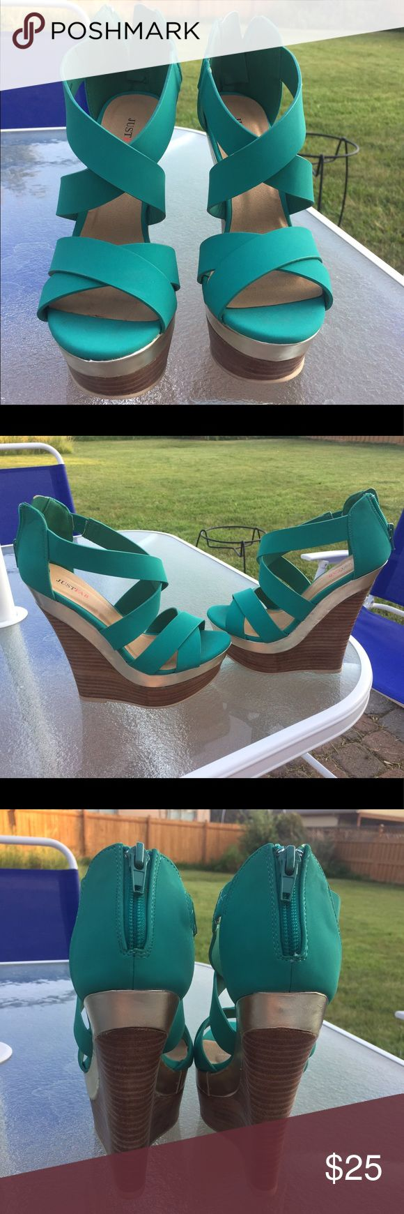 Teal wedges, size 6.5 JustFab teal wedges with gold detail and zipper in the back. Worn once JustFab Shoes Wedges