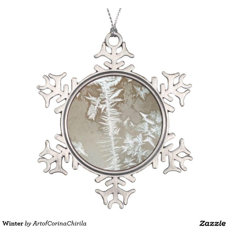 Winter Snowflake Pewter Christmas Ornament