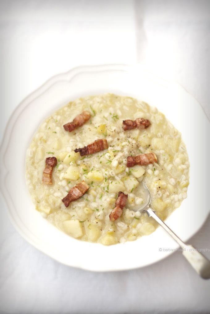 zuppa di porri, patate e orzo