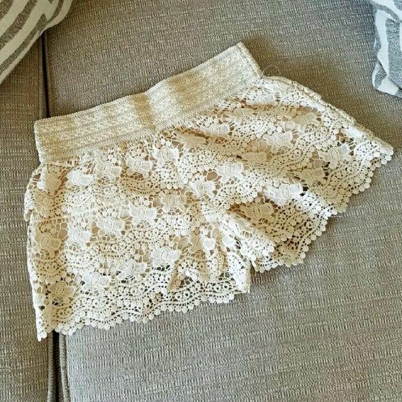 Shorts Crocheted cream shorts Wet Seal Shorts Skorts