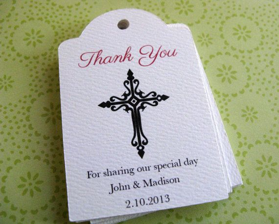 Baptism Favor Tags Personalized Cross Gift Tags by SandpiperPress, $10.00