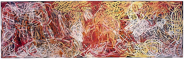 Emily Kam Kngwarray, 'Yam awely', 1995, synthetic polymer paint on canvas, National Gallery of Australia, Canberra, Gift of the Delmore Collection, Donald and Janet Holt 1995  © Emily Kam Kngwarray. Licensed by Viscopy