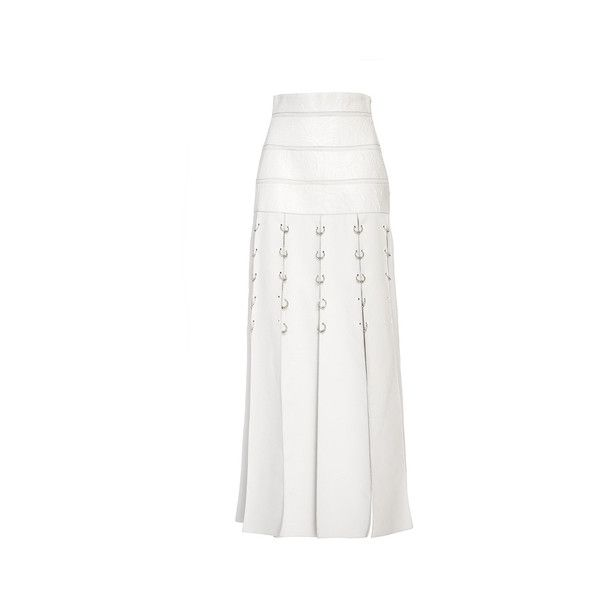 Prabal Gurung     Carwash Skirt with Rings (168,985 PHP) via Polyvore featuring skirts, white knee length skirt, prabal gurung, white high waisted skirt, panel skirt and high-waist skirt