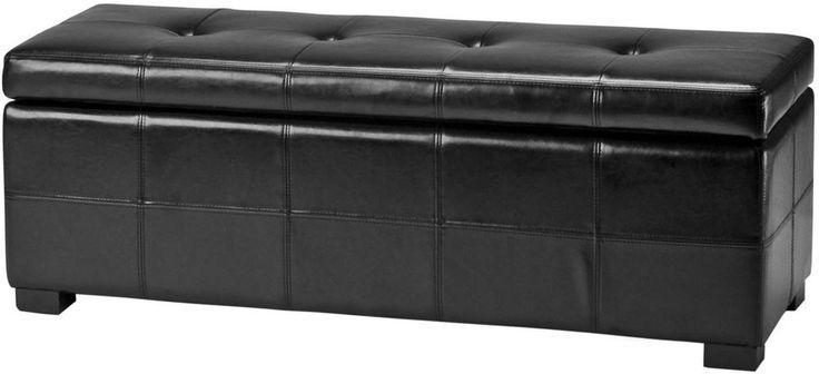Leather Storage Bench Maiden Tufted Black Bicast Wood Transitional Furniture New #Safavieh #Transitional #Storage #Bench #Black #Furniture