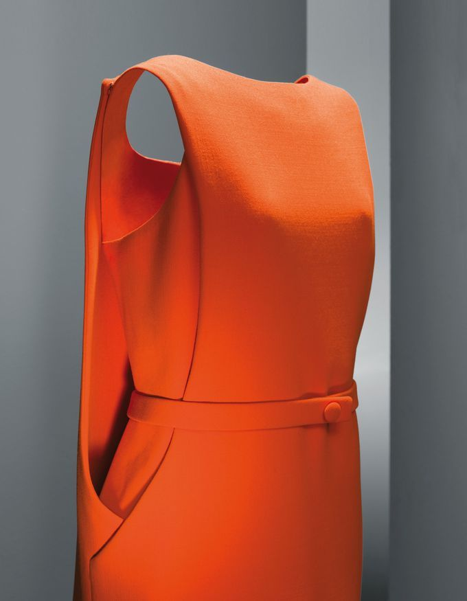 BALENCIAGA-Paris-1968.  Cristobal Balenciaga 1968 60s couture designer fashion dress space age orange belt colour