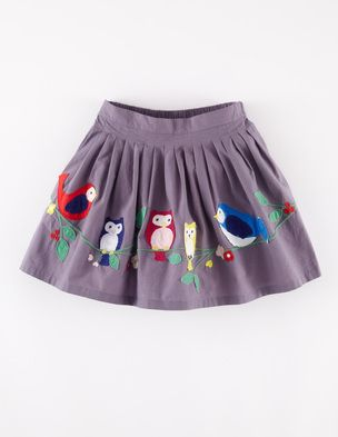 Appliqué Skirt: Appliqué Skirt by Mini Boden: Pleated waistband. full skirt, contrast colour lining. Embellished with hand-cut appiqués of foliage and feathered friends. #Sewing inspiration #SewforGirls