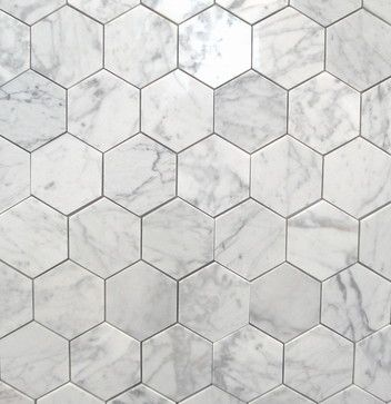 "Bianco Carrara 3"" Polished Hexagon MarbleTiles traditional-floor-tiles"