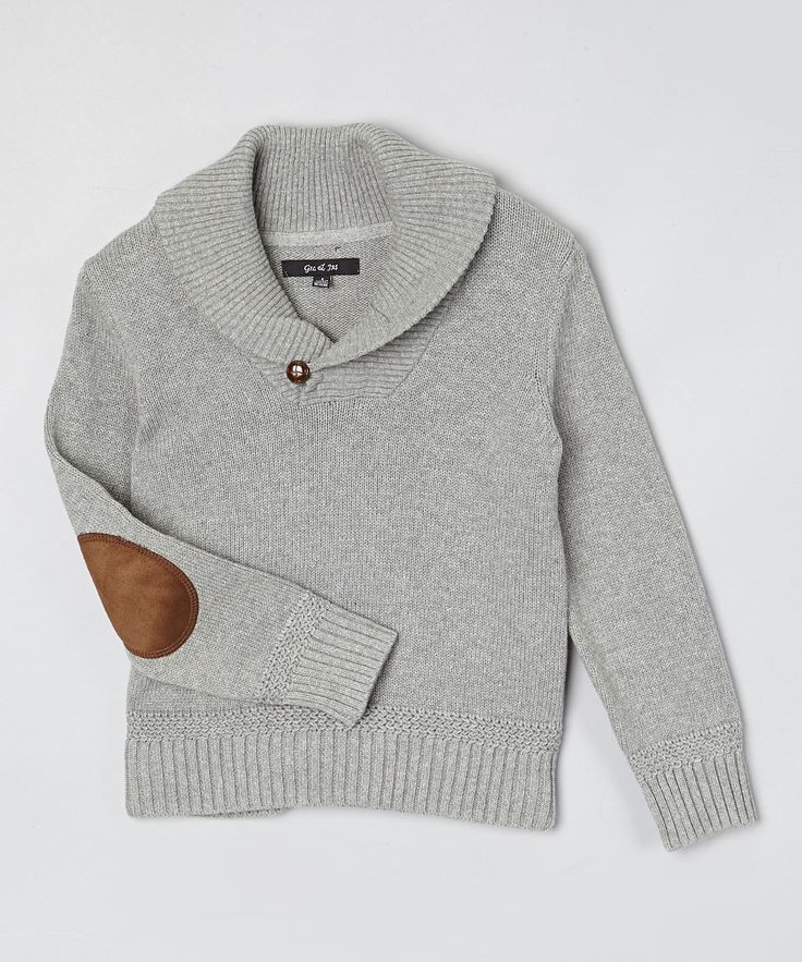 Gray Shawl Collar Elbow Patch Sweater - Toddler & Boys