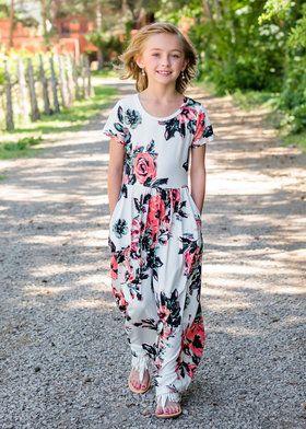 802d78c3e Girls Summer Sunset Floral Print Cap Sleeve Maxi Dress Ivory