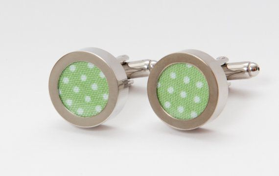 Green Polka Dots Men's Cufflinks Cotton by CustomCufflinkCo