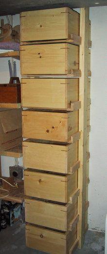 Workshop storage wooden boxes.