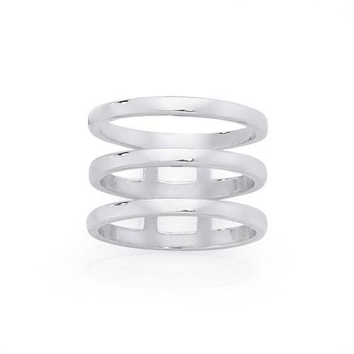 Silver Triple Bar Geo Ring   Goldmark Australia
