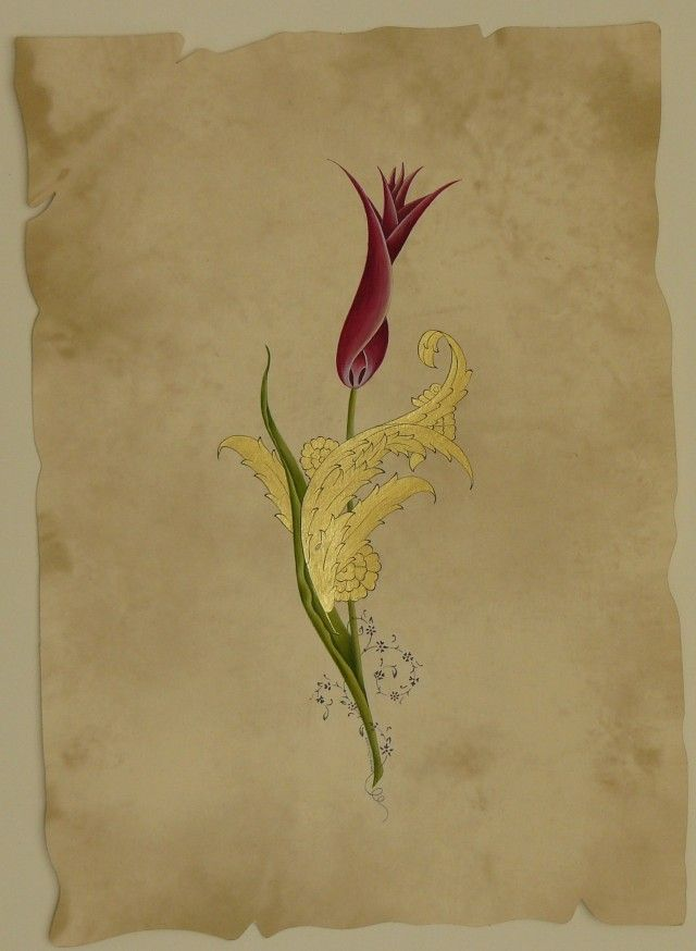 Lale 3 ( Altın, guaj 20x30 cm )