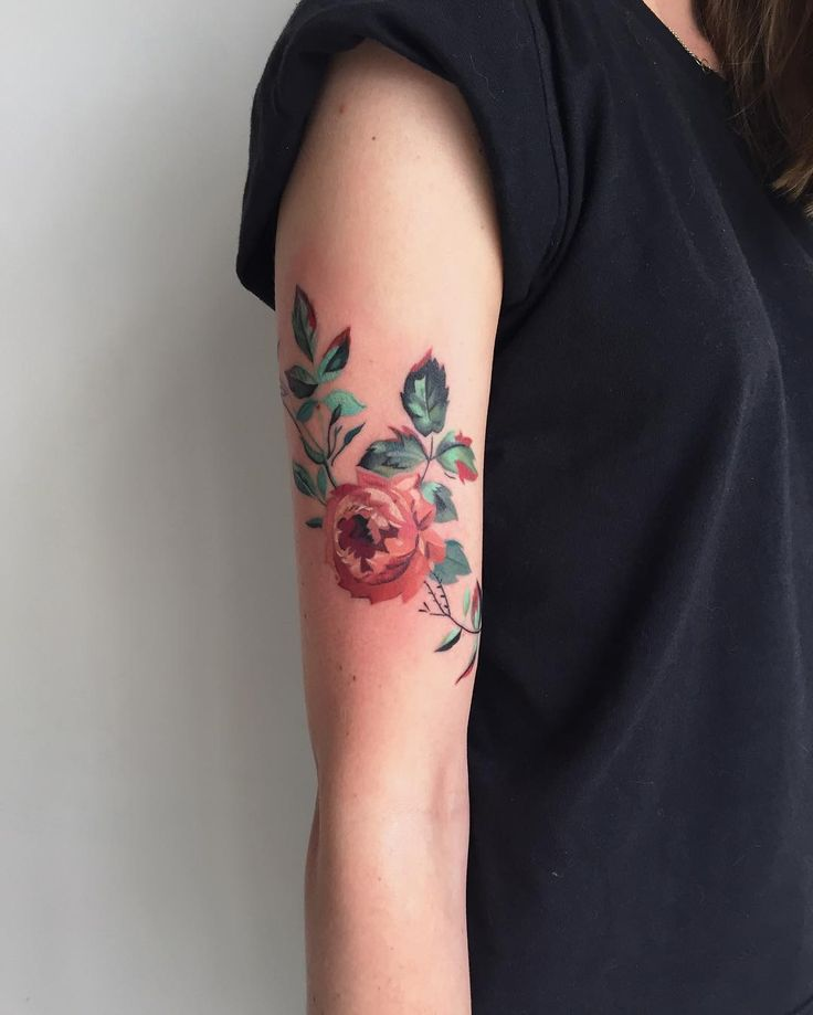 Antique wallpaper inspired colored rose flower inked on arm by amandawachob