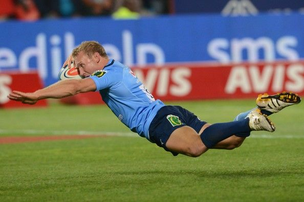 Jano Vermaak scores during the Super Rugby match between Vodacom Bulls and Toyota Cheetahs at Loftus Versfeld on April 13, 2013 in Pretoria, South Africa. #Super #Rugby #Bulls #Cheetahs