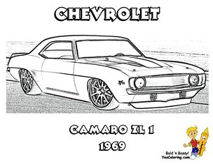 1969 Chevrolet Camaro ZL-1 Muscle Car To Print Out at