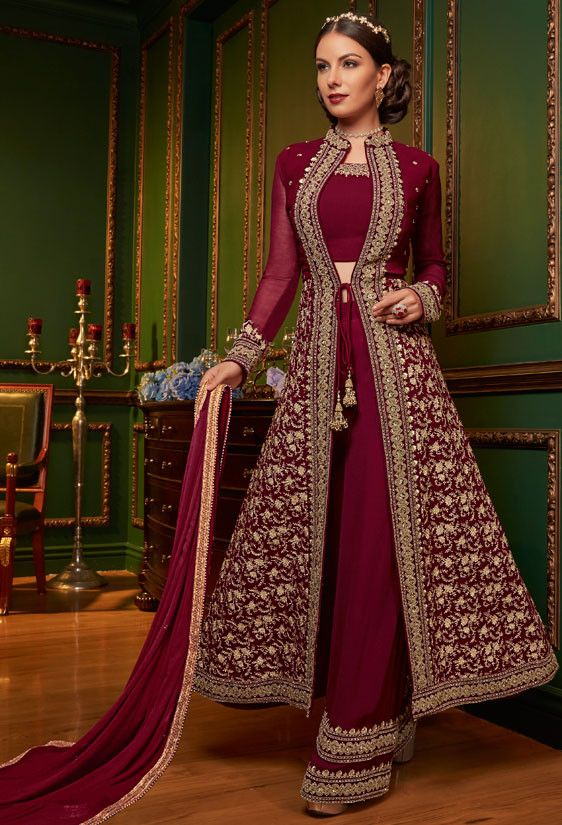 34db5a698e26 Maroon Embroidered Georgette Palazzo Kameez in 2019