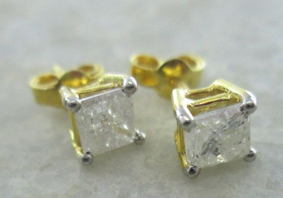 Sparkling Princess Cut Solitaire Diamond Studs, 1.20Carats Solitaire Diamond Earrings, 14K Yellow Gold