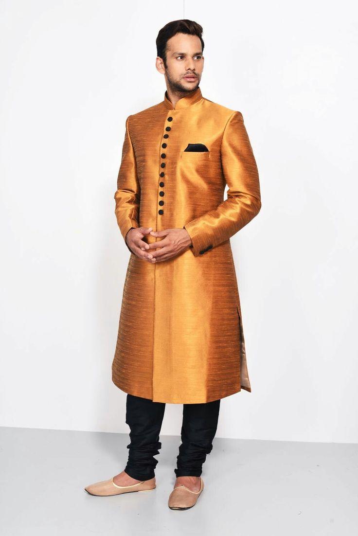 OSHNAAR - copper achkan #flyrobe #groom #groomwear #groomsherwani #sherwani #flyrobe #wedding #designersherwani