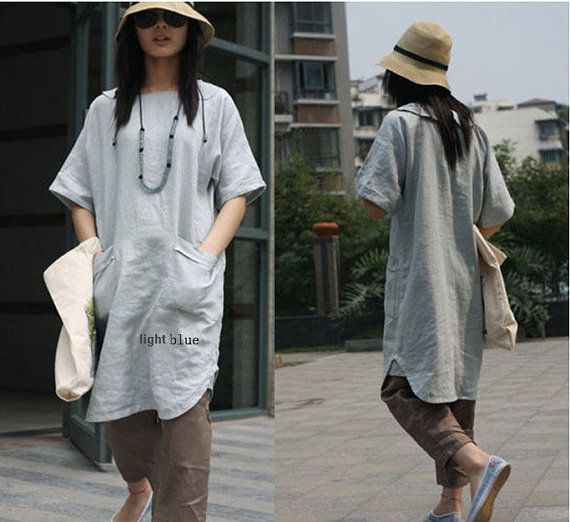 Lovely Long Linen  Dress/ 25 Colors/ ANY SIZE by Ramies on Etsy, $69.00
