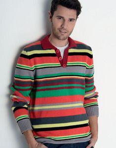 modèle de pull style polo rugby multicolore homme à tricoter