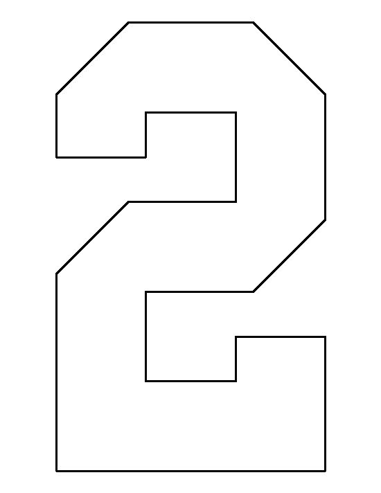 Number 2 pattern use the printable outline for crafts for 4 blocker template