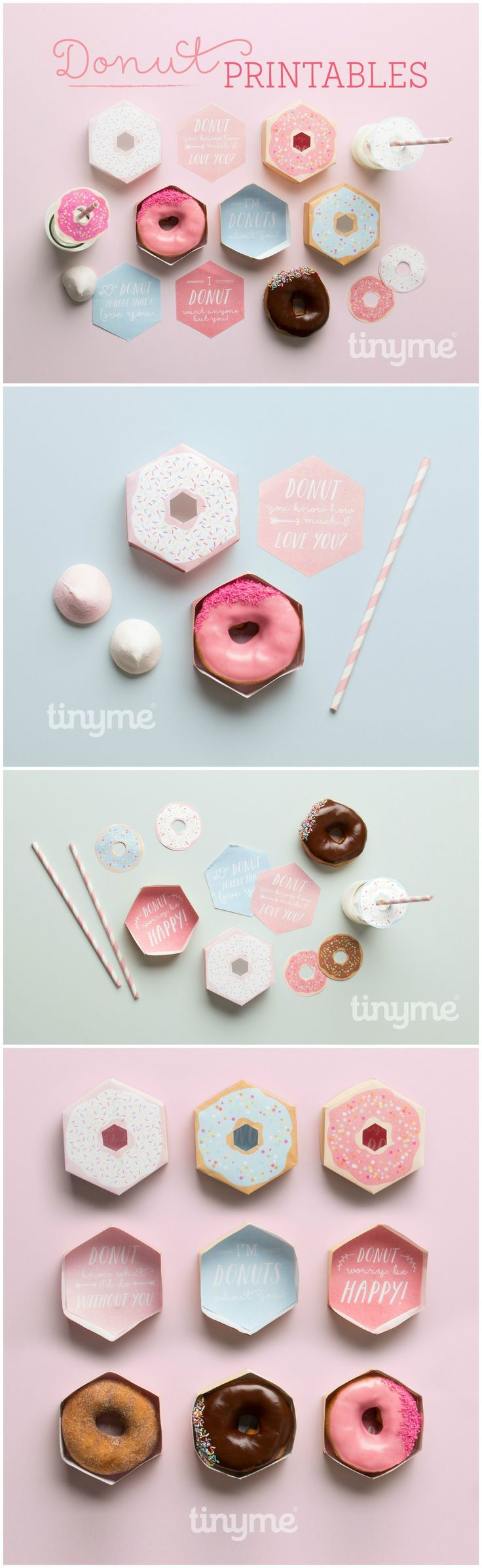 Freebies // Free printable pastel donut/doughnut boxes, straw toppers and sweet messages