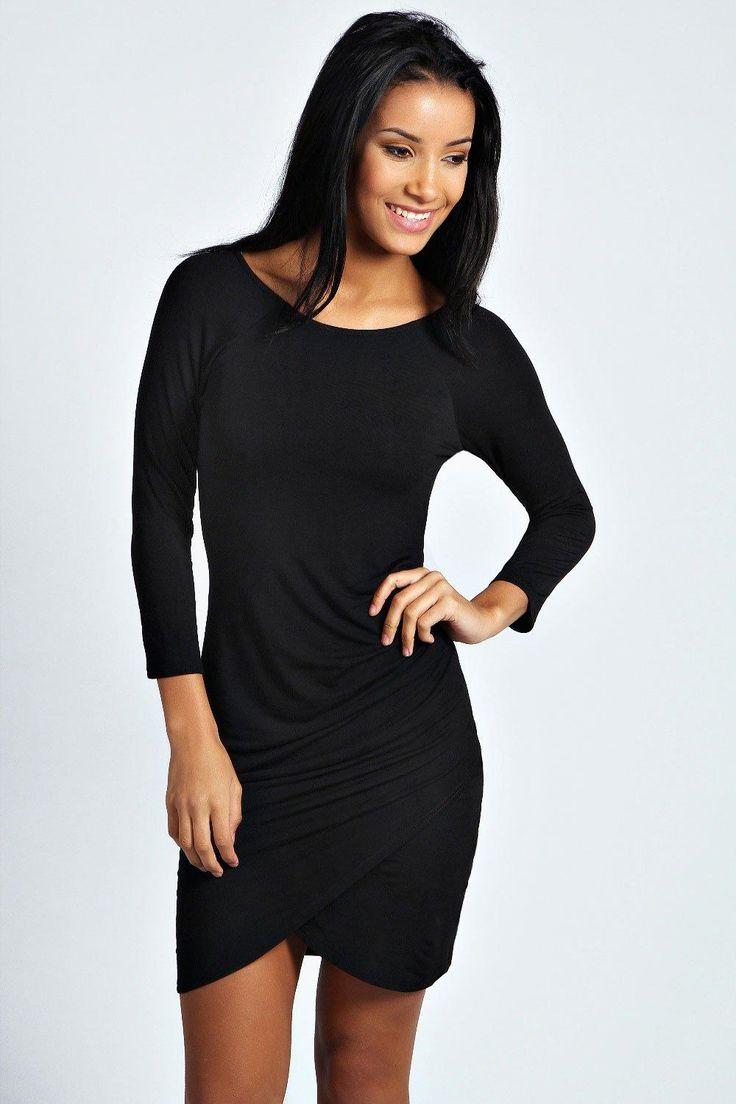 Wrap Over Skirt Sleeve Black Bodycon Dress  https://www.australiaqld.com/product/wrap-skirt-sleeve-black-bodycon-dress/ #Fashion #Style