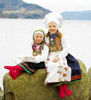 Norwegian girls in folklore costumes