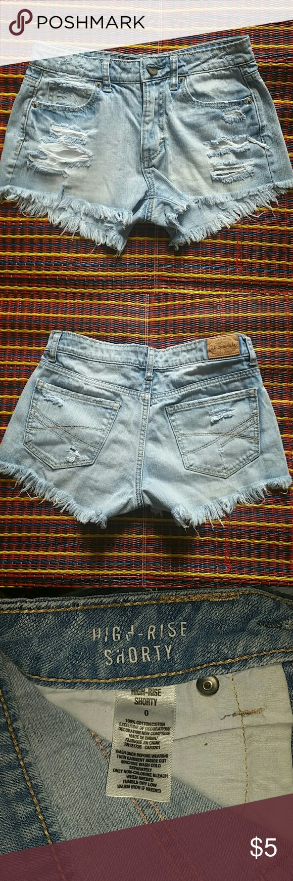 ❣Like new High-rise Shorty❣ Sexy Distressed shorts. Faded light blue Aeropostale Shorts Jean Shorts