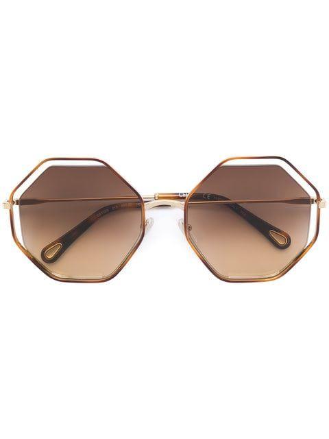 cb5d4e80e Compre Chloé Eyewear Óculos de sol sol geométrico. | gafas in 2019 | Óculos,  Chloe, Oculos de sol