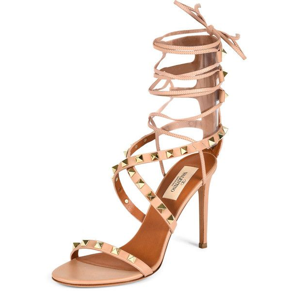 Valentino Rockstud Crisscross Ankle-Wrap Sandal (4.025.340 COP) ❤ liked on Polyvore featuring shoes, sandals, skin sorbet, ankle tie sandals, leather criss cross sandals, strappy high heel sandals, leather strap sandals and ankle strap high heel sandals