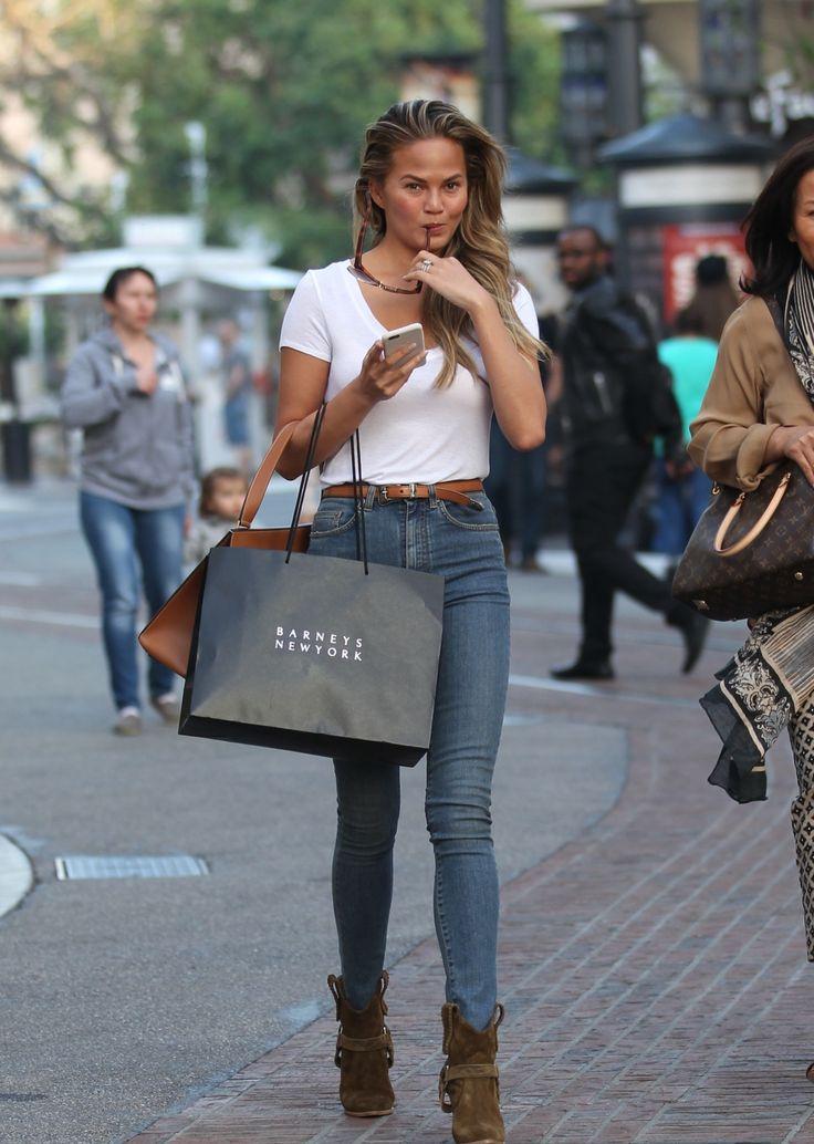 Los Angeles, 2015 Chrissy Teigen Isabel Marant boots · Celine bag