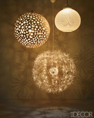 Oohh, I would like these in the bedroom! Especially that dandelion looking one.  From left: Annika chandelier by Oly, PS Maskros pendant lamp by IKEA, and Non-Random light by Bertjan Pot for Moooi.