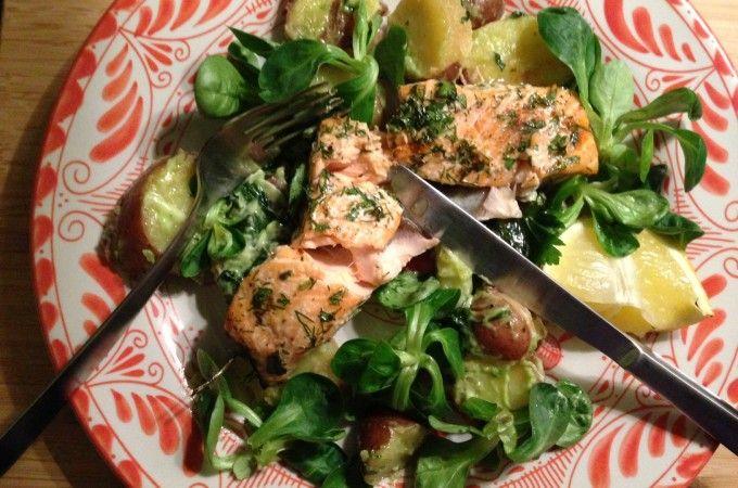Jamie's lentezalm met basilicum aardappels - Francesca Kookt