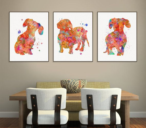 Dachshund Art Watercolor Dachshund Set of 3 by MiaoMiaoDesign