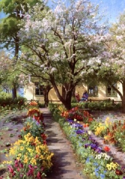 'Blooming garden in the Spring' - Peder Mork Monsted (1859 – 1941, Danish)