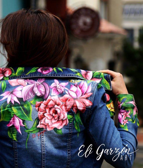 Customised Denim Jacket, Painted Denim Jacket, Painted Jeans, Painted Clothes, Hand Painted, Diy Clothes, Clothes For Women, Recycled Denim, Wearable Art