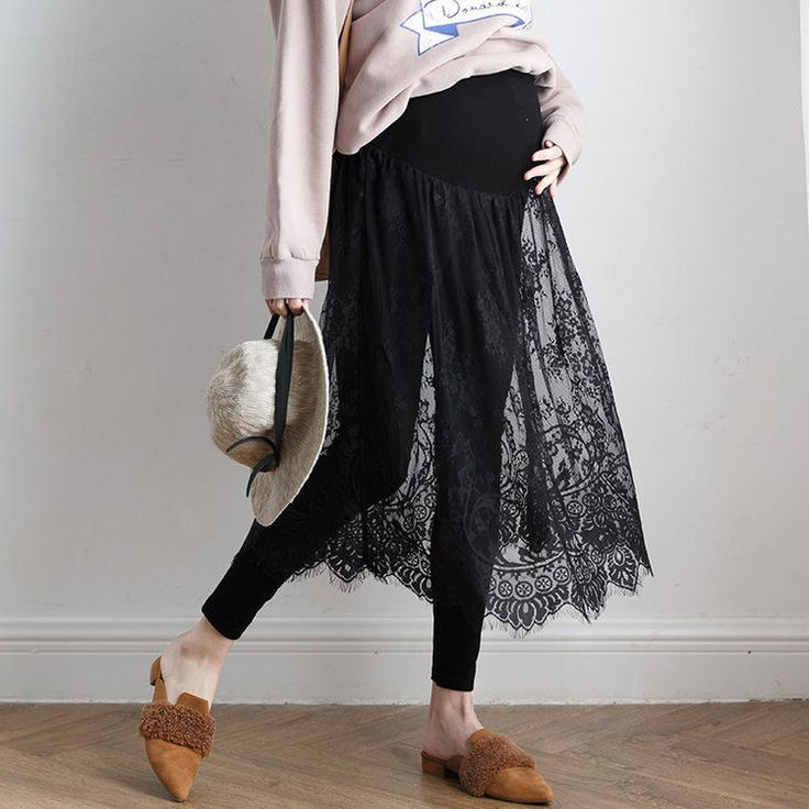 MATERNITY FAKE-TWO-PIECE LACE LEGGINGS