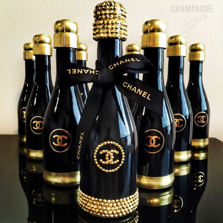 Coco Champagne Party Favors - Designer Champagne Gift - Black and Gold Bubbly - Glam Bottles - Bubbly Bar - Champagne Bisou by ChampagneBisou on Etsy https://www.etsy.com/listing/267251924/coco-champagne-party-favors-designer