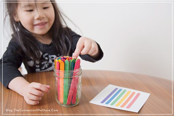 Matching game for kids with sticks