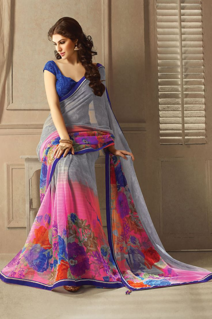 Grey Georgette Printed Saree With Blouse From Skysarees.