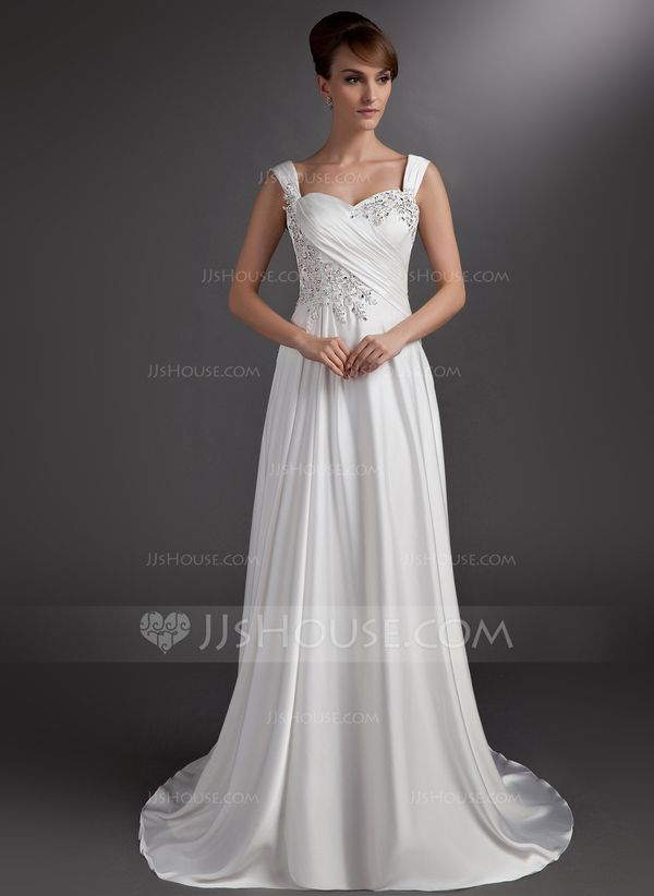 A-Line/Princess Sweetheart Court Train Satin Chiffon Wedding Dress With Ruffle Beading Appliques Lace (002016735)